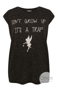 "PRIMARK Ladies DISNEY TINKERBELL the Fairy  ""Don't Grow Up it's a Trap"" T shirt #Primark #Graphic"
