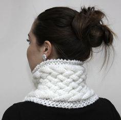 Cozy White Neck Warmer  White Classica  Warm Cowl/ by Solandia