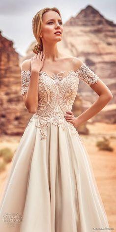 oksana mukha 2018 bridal short sleeves off the shoulder semi sweetheart neckline heavily embellished bodice romantic a line wedding dress covered lace back sweep train (libia) zv