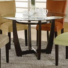 Transitional Cuccino Table Gl Top Dining Room Kitchen Tables