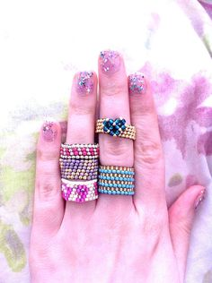 Cute Spring Boho Seed Bead Rings - Beaded Rings - Bohemian Rings - Gypsy - Colourful - Fun - Stacking Rings - Bead Jewelry,