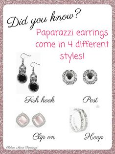 Paparazzi earrings come in 4 different styles! Paparazzi Jewelry Images, Paparazzi Jewelry Displays, Paparazzi Accessories, Jewelry Accessories, Jewelry Ideas, Paparazzi Display, Jewelry Design, Custom Jewelry, Handmade Jewelry