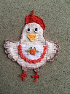 Crochet chicken potholder, tested pattern on Ravelry. : )