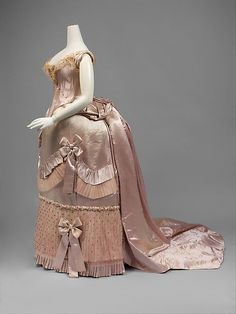 Court presentation ensemble (image 2)   House of Worth   French   1888   silk, metal, feathers, glass   Metropolitan Museum of Art   Accession Number: 2007.385a–l