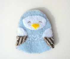 Blue Bird Brooch hand sewn felt jewelry by PoofyDove on Etsy, $10.00