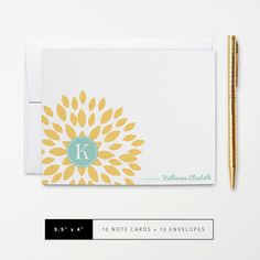 Flat or Folded Note Cards // Set of 10 // Yellow Blooming Blossom with Teal Monogram Initial and Name // Personalized Stationery by k8inked
