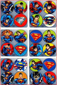 Superman Stickers Dots x 24 (6 sheets) - Favours -Superhero Dot- Birthday Party