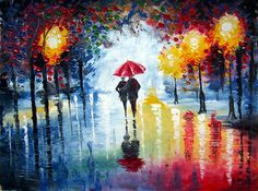 Rain Oil Painting - Couple walking in the night - Original Painting - Night Rainy Abstract Landscape. $145.00, via Etsy.