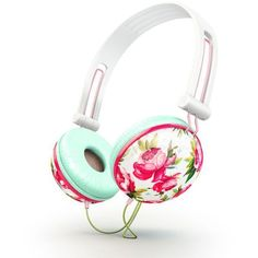 Pastel pink floral Headphones ❤ liked on Polyvore featuring accessories