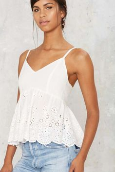 Tripping Daisy Eyelet Tank Top - Clothes | Vacation Shop | Tanks | Summer Whites