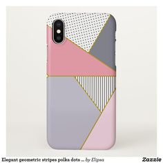 Elegant geometric stripes polka dots pastel iPhone x case