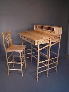 Stand Up Desk and Stool: John Wesley Williams: Wooden Desk   Artful Home