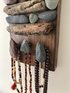 Excited to share this item from my shop: Driftwood Necklace Wall Hanger/Artistic Display Hand Jewelry, Jewelry Stand, Jewelry Holder, Jewelry Shop, Stone Crafts, Rock Crafts, Necklace Wall Hanger, Driftwood Art, Painted Driftwood