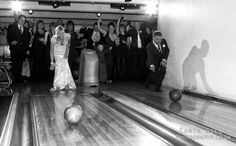 Wedding Bowling!! Something similar. Bridesmaids on one side of the lane, groomsmen on the other