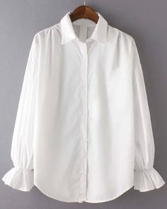 Vintage Long Sleeve Shirt Collar White Single-Breasted Blouse For Women
