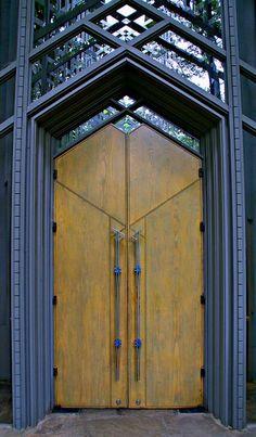 Chapel door - by E. Fay Jones former Frank Lloyd Wright apprentice. - photo by A Thompson