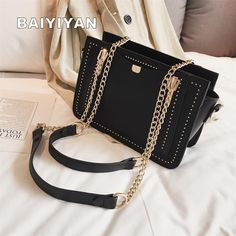 Luxury Rivet Handbag Women Bag Designer Brand Metal Chain Tote Bags Casual PU Leather Crossbody Bag – Black – Purses And Handbags Boho Popular Handbags, Cheap Handbags, Cheap Bags, Purses And Handbags, Luxury Handbags, Cheap Purses, Coach Handbags, Spring Handbags, Spring Bags