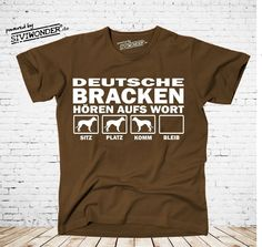 T-Shirt Hunde DEUTSCHE BRACKE BRACKEN HÖREN WORT   Hund by Siviwonder bis 4XL