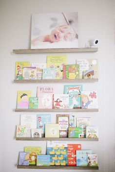 Library Wall in Nursery - Gray wash book ledges are Target! {Article has all sourcing!}