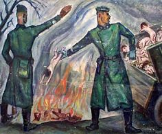 "David Olère (1902 – 1985, Polish-born French) ~ ""An SS trooper throwing live children into the furnace"" ~ As a Jew, David Olère was deported to Auschwitz, where he was forced to work in the gas chambers and crematorium. His work, based on personal experience, has exceptional documentary value. Needless to say that, in their tragic cruelty, his drawings and paintings are highly explicit."
