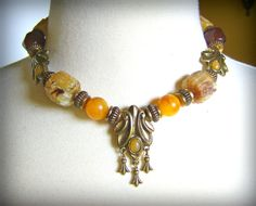 Vintage 1928 Co.Necklace Faux Amber and Brass by OurShabbyCottage