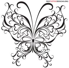 Hearts and butterfly tattoo design