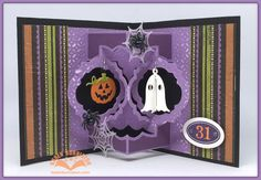 Karen Burniston using the Pop it Ups Anita Frames Pop-up, Halloween Charms, Halloween Scene and coordinating stamps by Karen Burniston for Elizabeth Craft Designs.