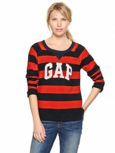 Moletom Gap Women's Rugby Stripe Arch Logo Pullover Ted Stripe 605131 #Gap#Moletom