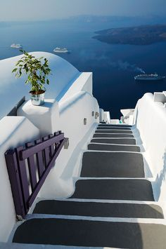 Santorini island stairs ~ Greece