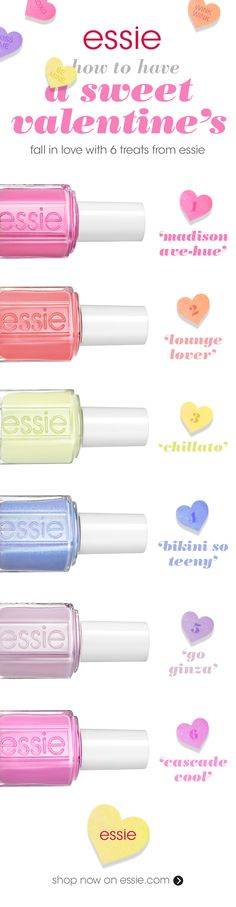 Fall in love with six sweet treats from essie and have the sweetest valentine's! Slip into 'madison ave-hue' a chic upper east side pink or 'lounge lover' a pretty pink peach. Cold and refreshing frozen cream pistachio 'chillato' will send shivers down your spine. Bare it all in 'bikini so teeny' a sparkling cornflower blue nail polish with a wink & a smile & no strings attached. 'go ginza' a soft cherry blossom pink or 'cascade cool' a creamy, sweet dusty pink