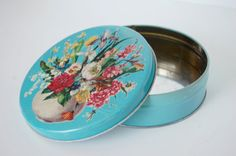 Vintage Blue Tin with Flowers Cookie Tin Mid by Back40Finds, $10.00