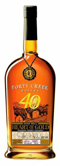 This is the 2013 Limited Edition whisky from Forty Creek, and John Hall pulled out some old winemaker's tricks in creating this whisky. He used a wine yeast instead of more traditional brewer… Rye Whiskey, Scotch Whiskey, Bourbon Whiskey, Whisky, Whiskey Bottle, Vodka Bottle, Wine Yeast, Gold Bottles, Wine And Spirits