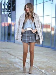 Gray Plaid Asymmetric Hem Zipper Skirt | Choies