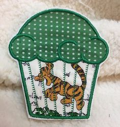 CUPCAKE Vintage Fabric Tigger EMBROIDERED  IRON ON APPLIQUE Handmade