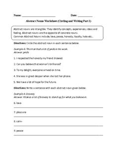 Circling and Writing Abstract Nouns Worksheet Part 1 Intermediate