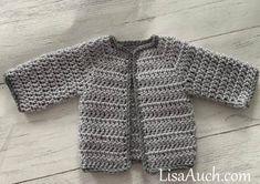 Free Crochet Pattern for a Newborn Baby Cardigan (Easy) : Crochet Baby Boy Cardigan All in one Crochet Baby Cardigan Free Pattern, Newborn Crochet Patterns, Crochet Baby Sweaters, Baby Sweater Patterns, Crochet Baby Clothes, Baby Patterns, Crochet Gratis, Free Crochet, Easy Crochet