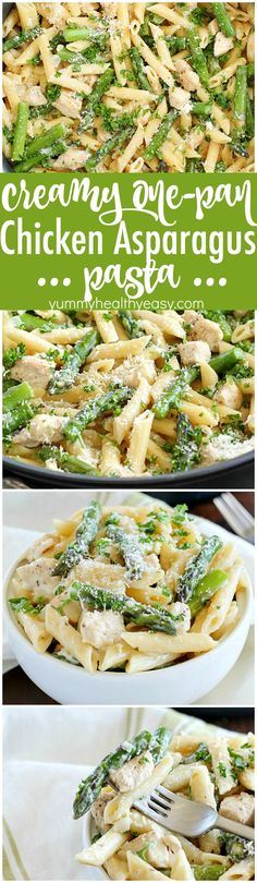 Creamy One-Pot Chicken Asparagus Pasta! Cooked in a creamy sauce and cooked from start to finish in only ONE pan. It's so simple and so easy plus the clean up is a breeze. It's perfect for spring and (Chicken Marinade For Pasta) Pasta Recipes, Chicken Recipes, Dinner Recipes, Cooking Recipes, Healthy Recipes, Cooking Corn, Cooking For One, Chicken Asparagus Pasta, Asparagus Recipe