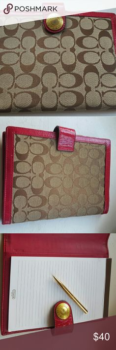 Coach Planner/Notebook This Coach Planner/Notebook is brown/tan with magenta trim and magenta inside.  It's in excellent condition.  There is a slight blemish on the snap.  This coordinates with the wallet and bag. Coach Accessories