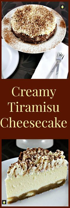 Italian Food ~ #food #Italian #italianfood #ricette #recipes ~ Creamy Tiramisu Cheesecake.