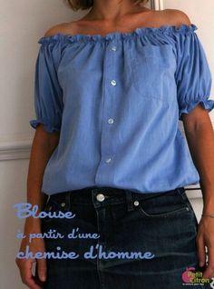 DIY : une blouse à partir d'une chemise d'homme - Umgestaltete Shirts, Men's Shirts And Tops, Diy Blouse, Sewing Clothes, Diy Clothes, Diy Vetement, Leather Apron, Shirt Refashion, Couture Sewing