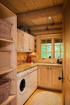 house ideas Great laundry room makeover ideas for every style and step-by-step instructions to update your laundry room. Plus a great laundry room mobile home remodel! Rustic Laundry Rooms, Farmhouse Laundry Room, Laundry Room Design, Log Cabin Bathrooms, Basement Laundry, Rustic Bedrooms, Bathroom Laundry, Laundry Closet, Remodel Bathroom