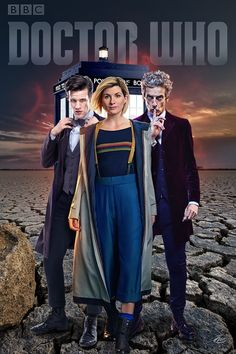 Jodie Whittaker with Peter Capaldi and Matt Smith in Doctor Who.