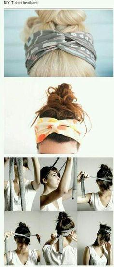 DIY Tshirt headband- no sewing, just cut and tie!                              …