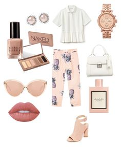 """👀"" by davidmihaela on Polyvore featuring Kendall + Kylie, Miu Miu, Linda Farrow, FOSSIL, MANGO, Lacoste, Lime Crime, Urban Decay, Gucci and Bobbi Brown Cosmetics"