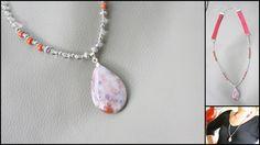 Sautoir en Jaspe rouge - Cristal de roche - Jaspe sanguin : Collier par perle-de-chamane