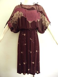 vintage 70s tree print dress