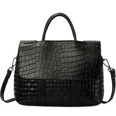 Black Crocodile Pattern leather Tote