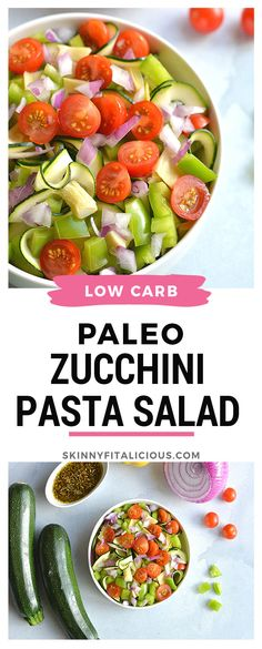 Replace pasta with spiralized zucchini for a light, refreshing and filling low carb pasta salad filled with vegetables! Healthy Vegetable Recipes, Healthy Salad Recipes, Lunch Recipes, Dinner Recipes, Gluten Free Recipes For Dinner, Healthy Gluten Free Recipes, Whole30 Recipes, Vegan Recipes, Healthy Low Calorie Meals