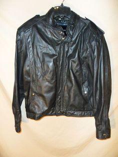 VINTAGE Chess King Men's Motorcycle Cafe Racer Jacket Coat Black Leather-Sz 46 #ChessKing #Motorcycle