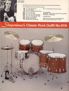 From 1977-1978 Slingerland Drum Catalog: Classic Rock Outfit w/ drummer Phil Ehart